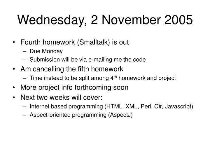 Wednesday, 2 November 2005