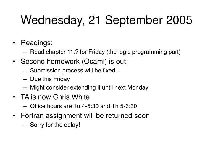 Wednesday, 21 September 2005