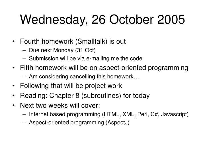 Wednesday, 26 October 2005