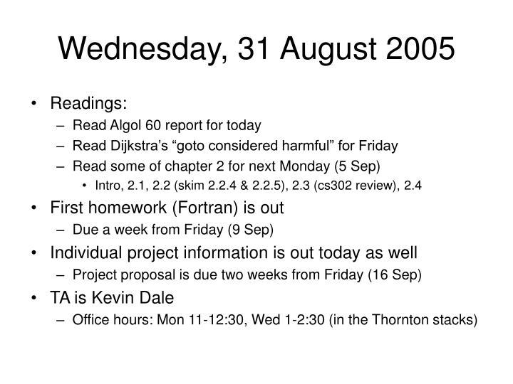 Wednesday, 31 August 2005