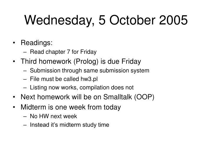 Wednesday, 5 October 2005