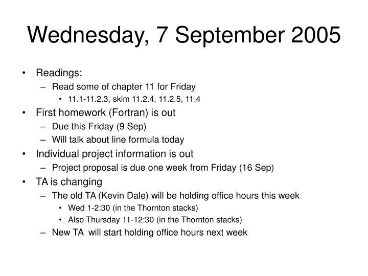 Wednesday, 7 September 2005