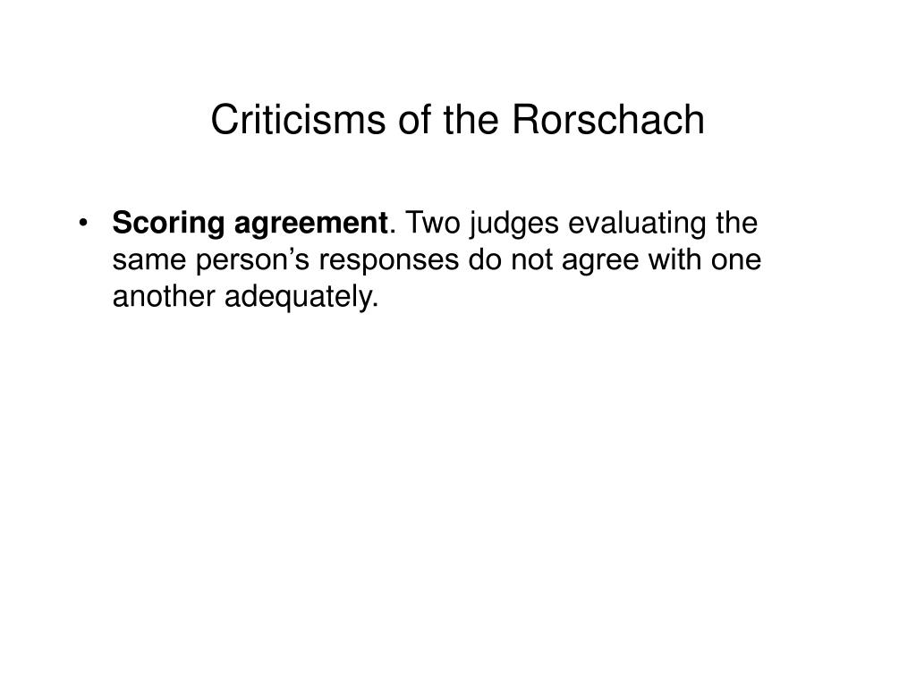 Criticisms of the Rorschach