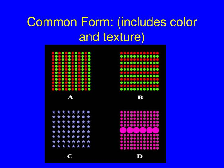 Common Form: (includes color and texture)