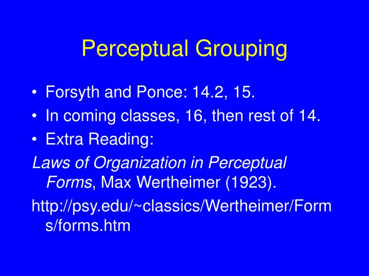 Perceptual Grouping