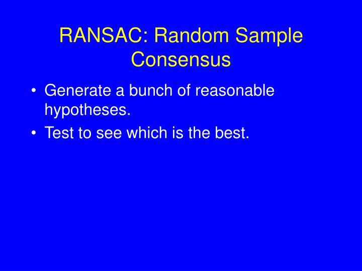 RANSAC: Random Sample Consensus