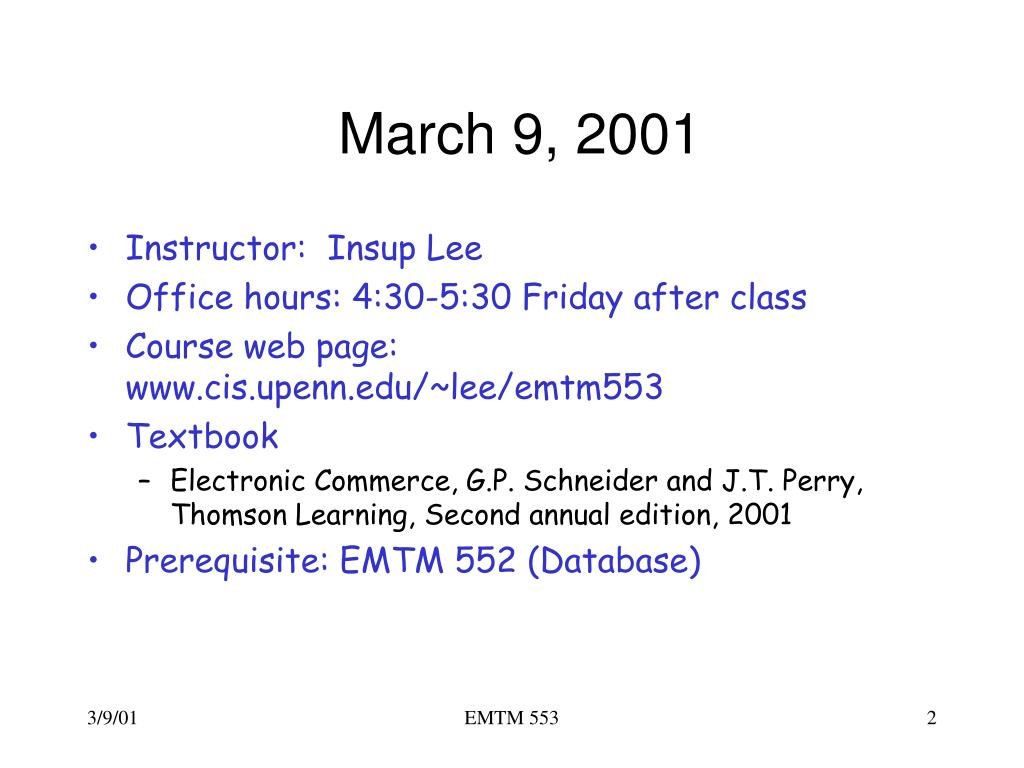 March 9, 2001