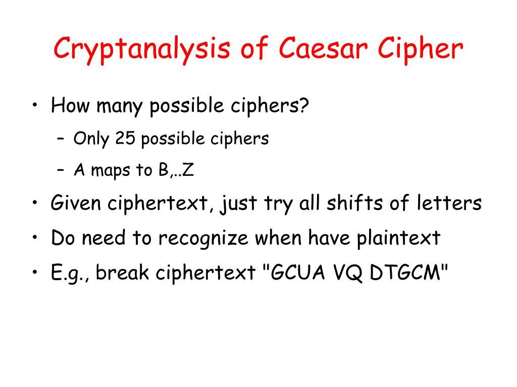 Cryptanalysis of Caesar Cipher
