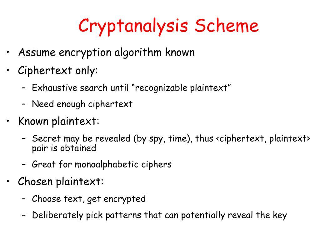 Cryptanalysis Scheme