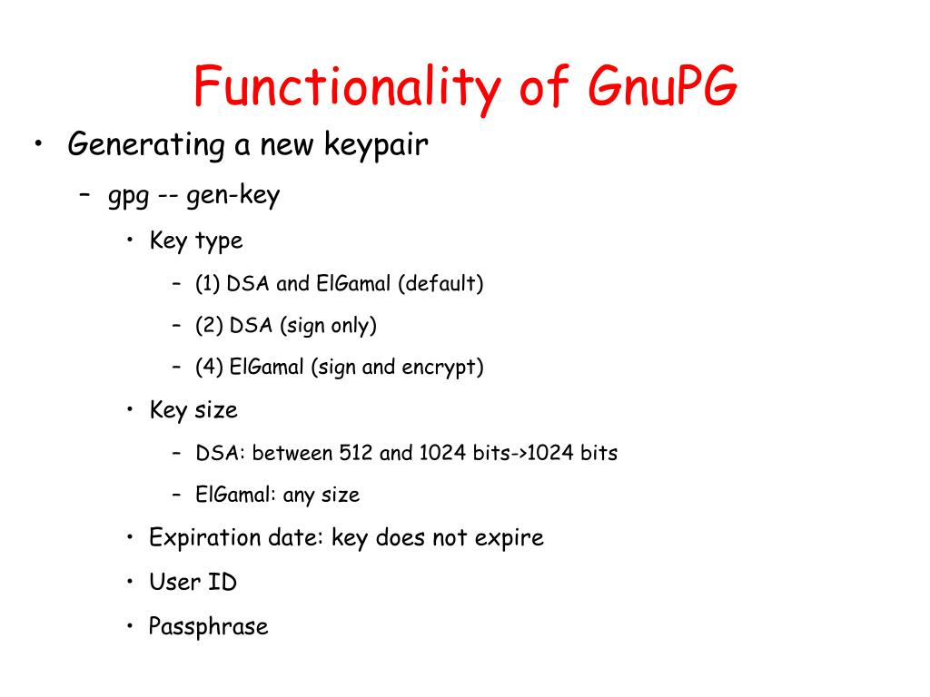 Functionality of GnuPG