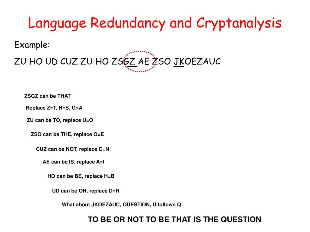 Language Redundancy and Cryptanalysis