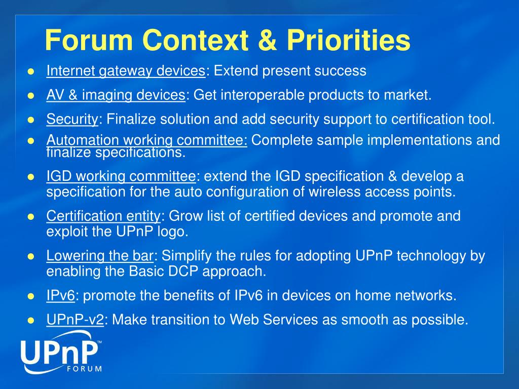 Forum Context & Priorities