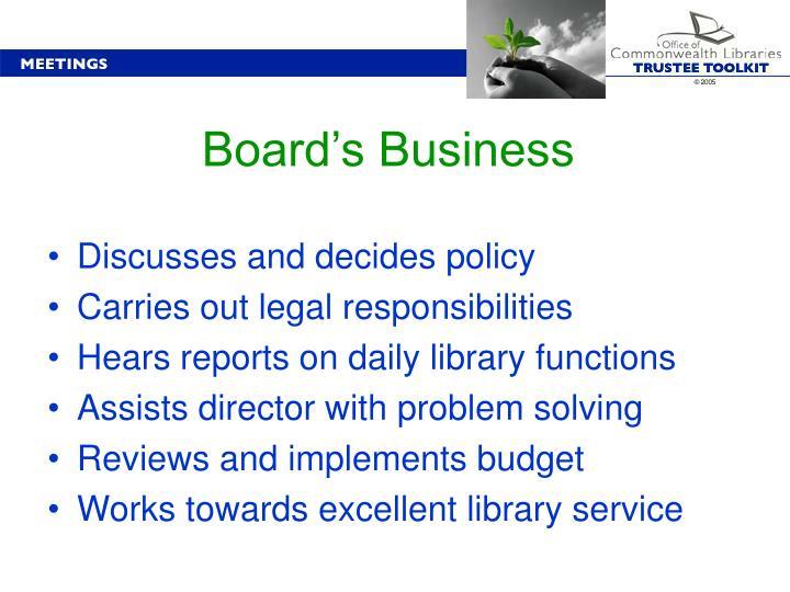 Board's Business