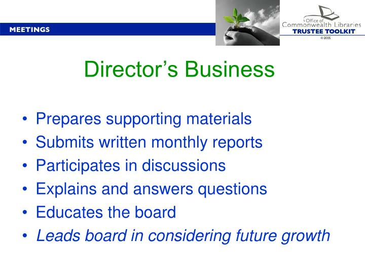 Director's Business
