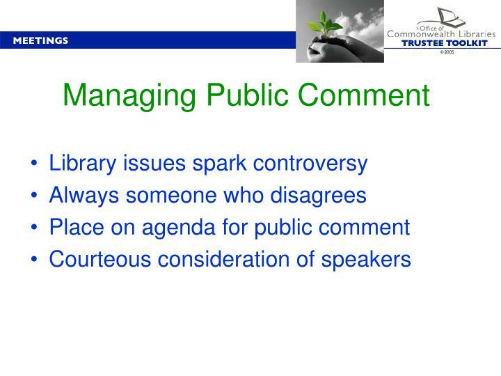 Managing Public Comment
