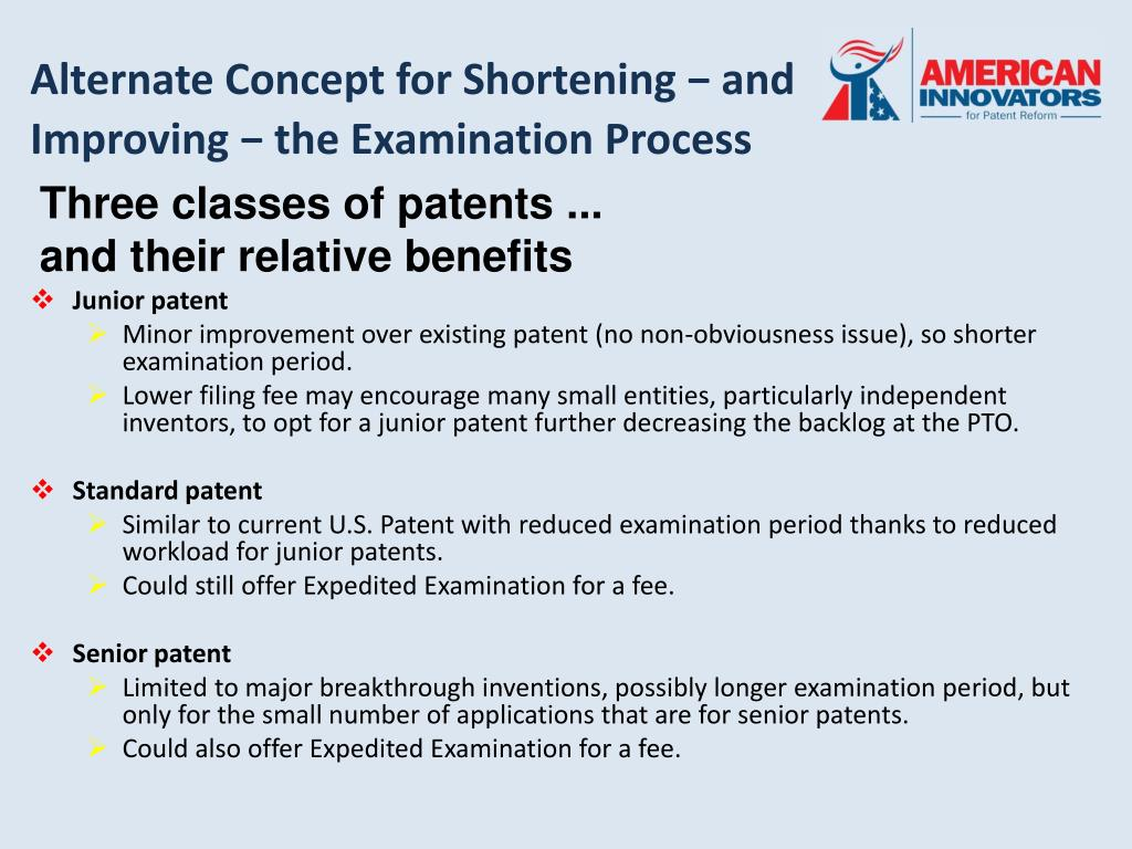 Alternate Concept for Shortening − and Improving − the Examination Process