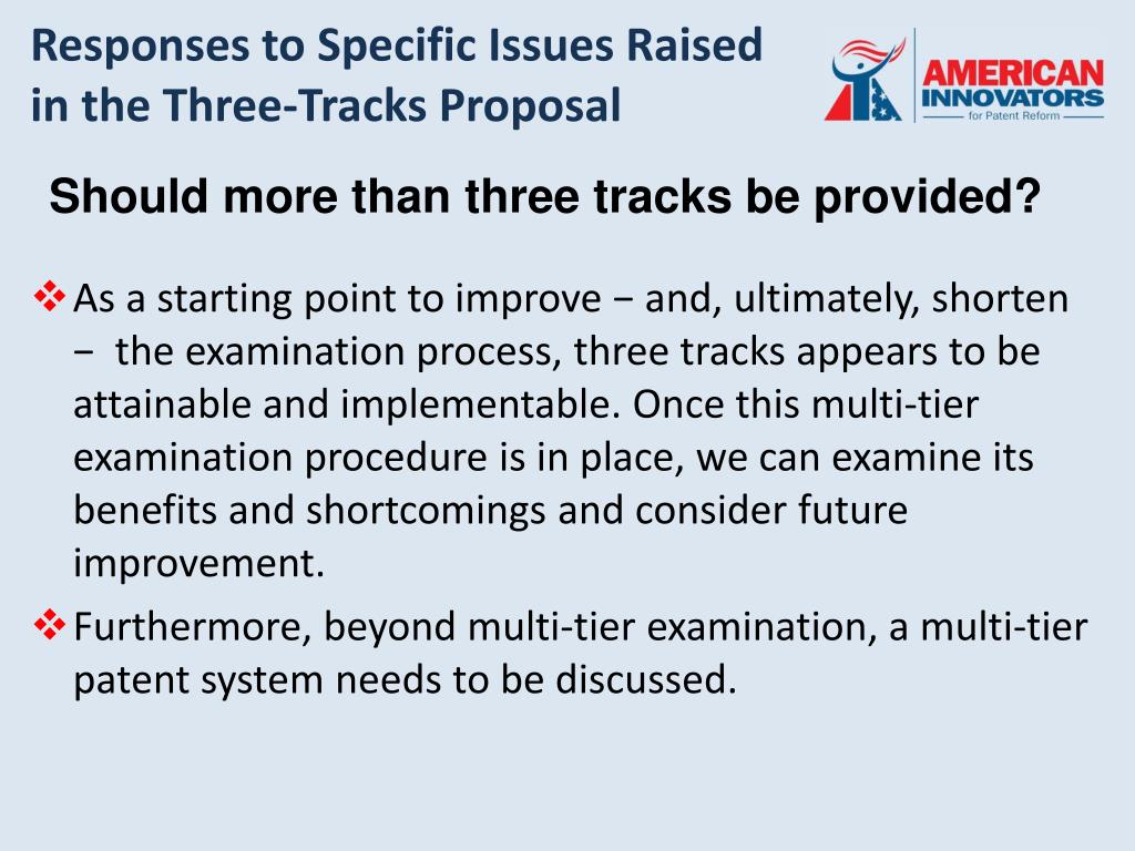 Responses to Specific Issues Raised in the Three-Tracks Proposal