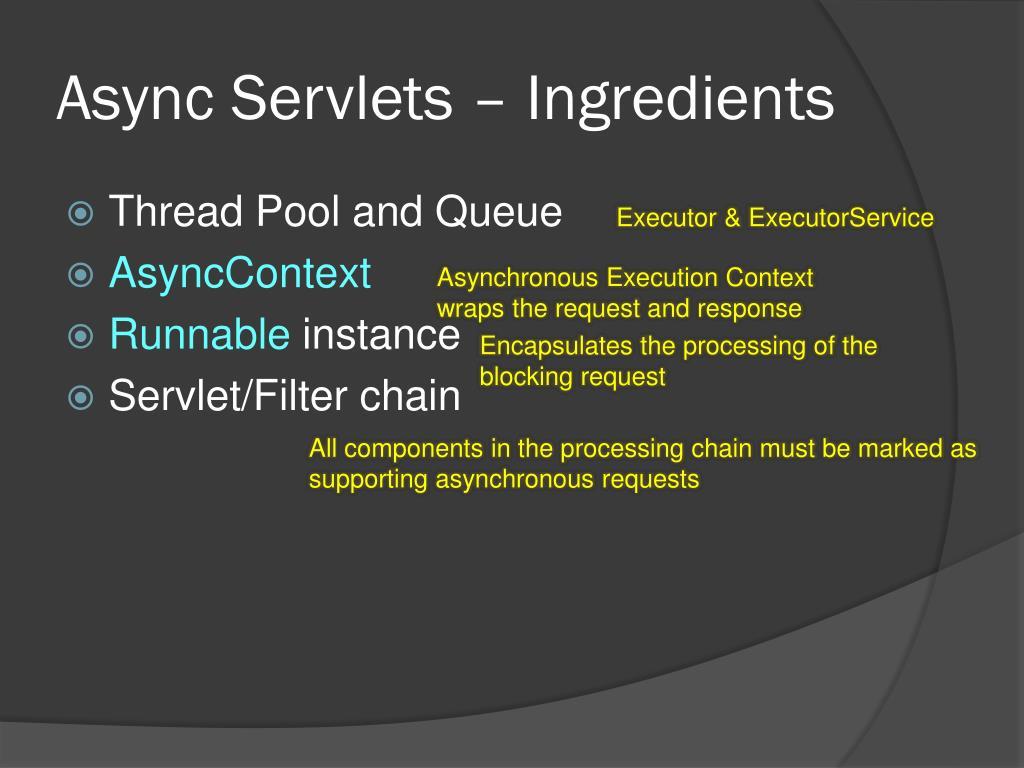 Async Servlets – Ingredients