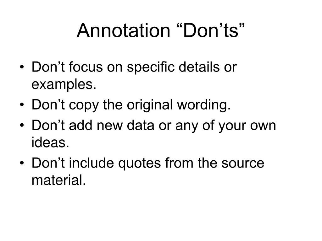 "Annotation ""Don'ts"""