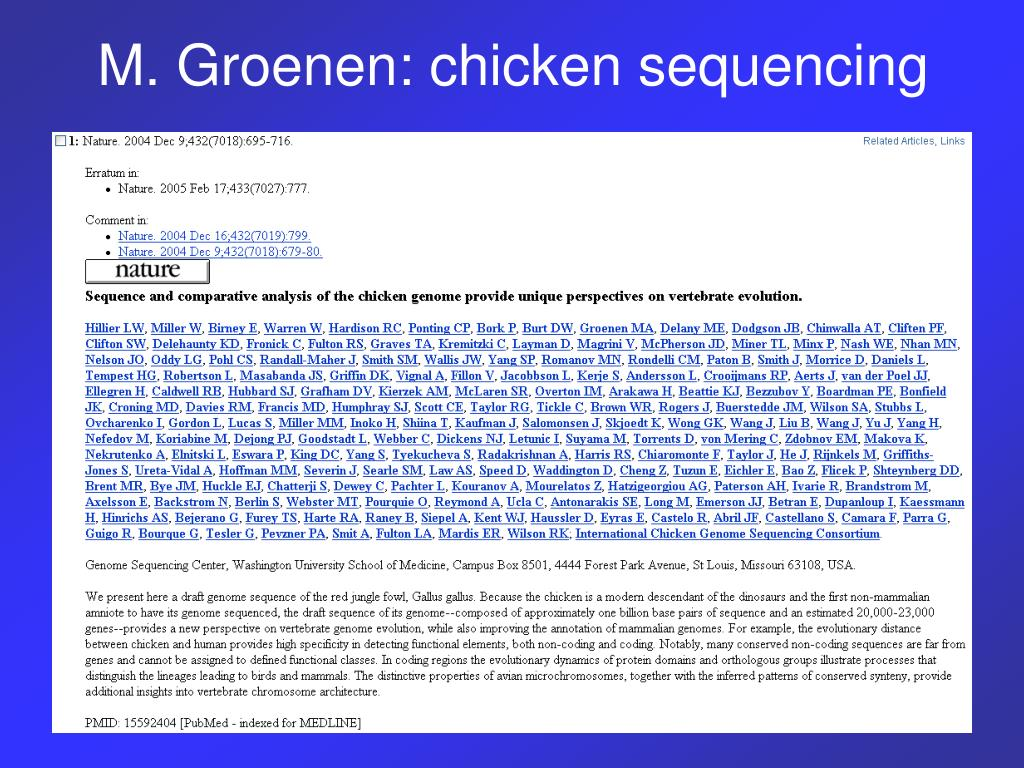 M. Groenen: chicken sequencing