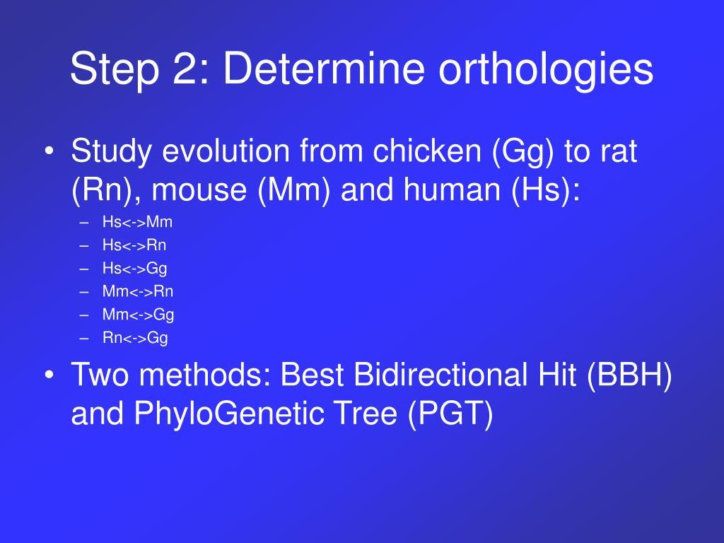 Step 2: Determine orthologies