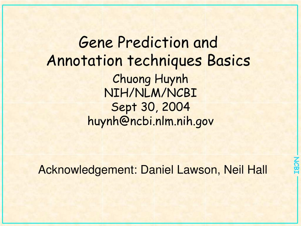 gene prediction and annotation techniques basics