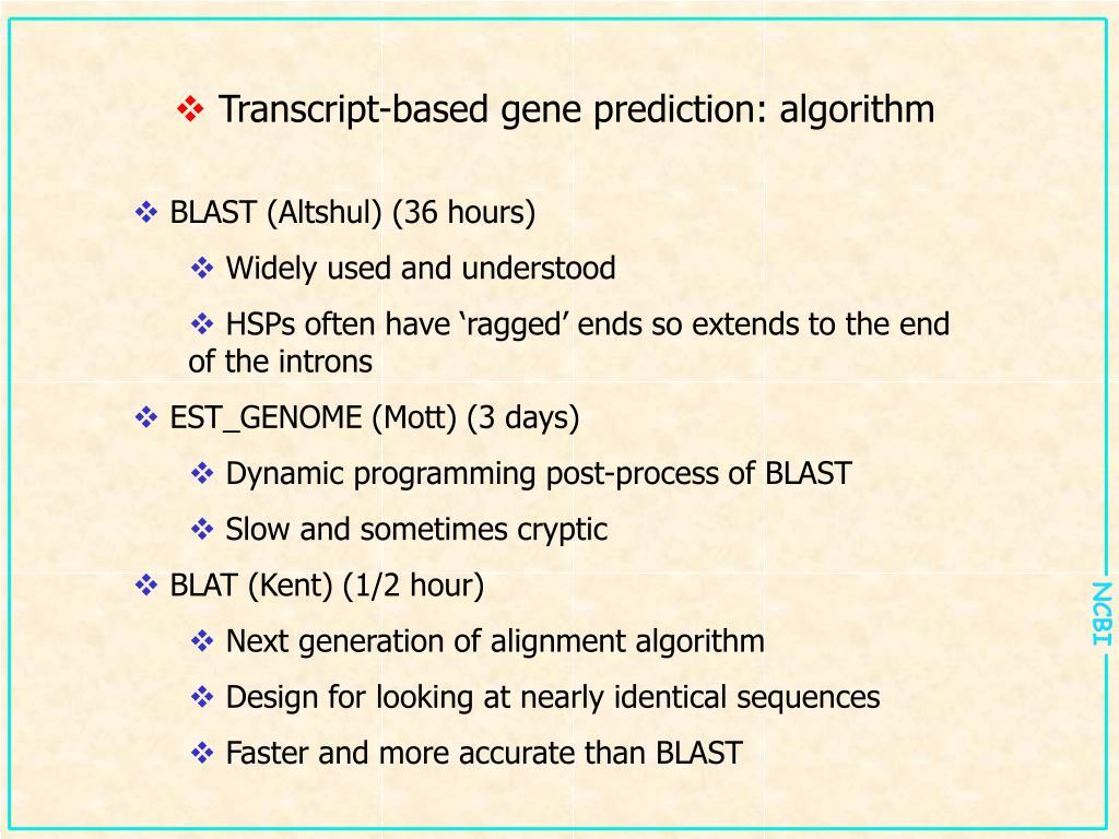 Transcript-based gene prediction: algorithm