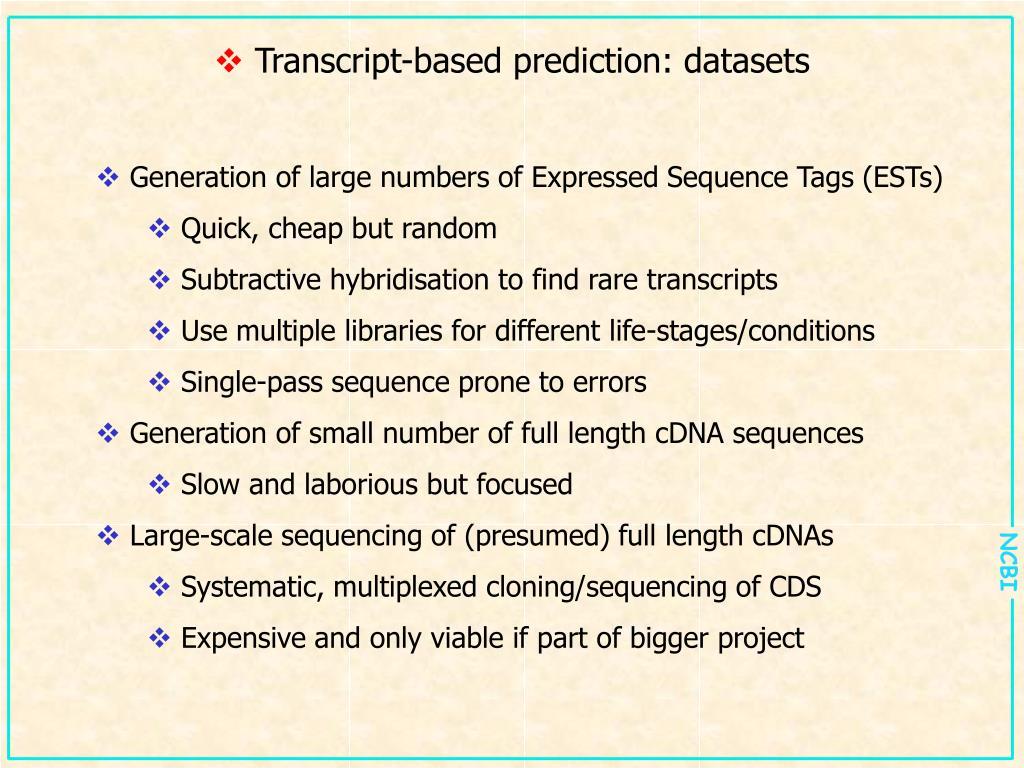 Transcript-based prediction: datasets