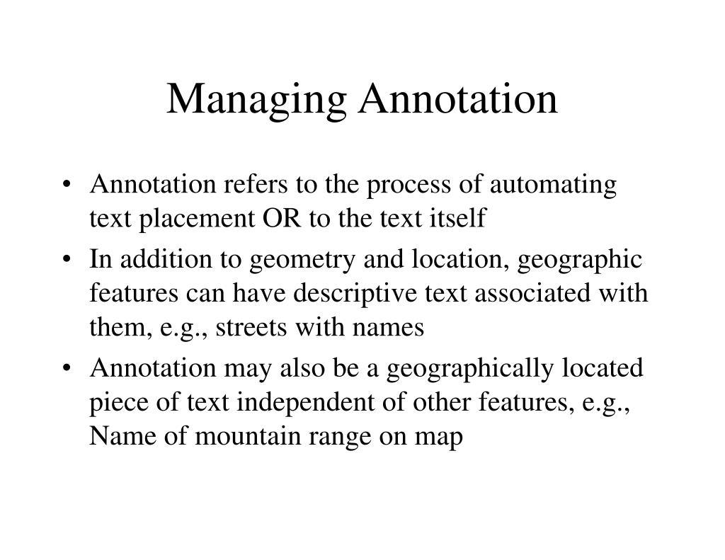 Managing Annotation