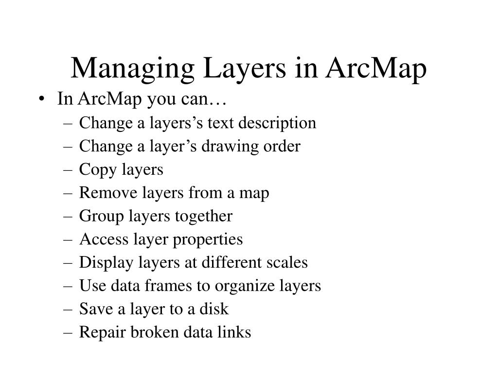 Managing Layers in ArcMap