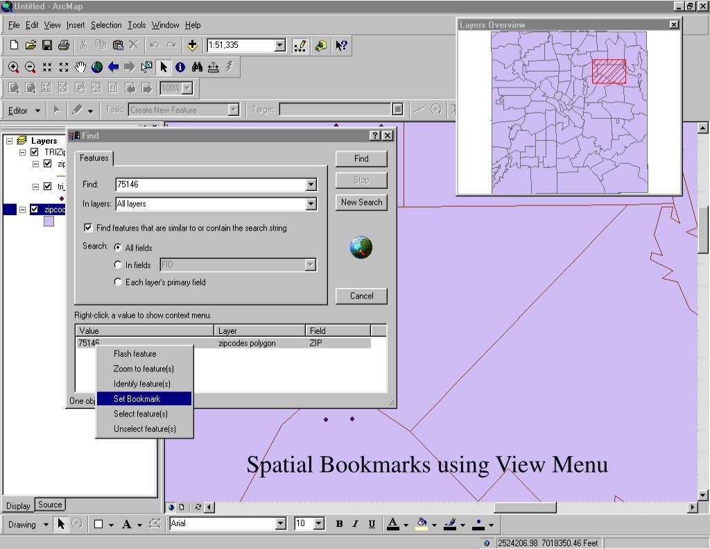 Spatial Bookmarks using View Menu
