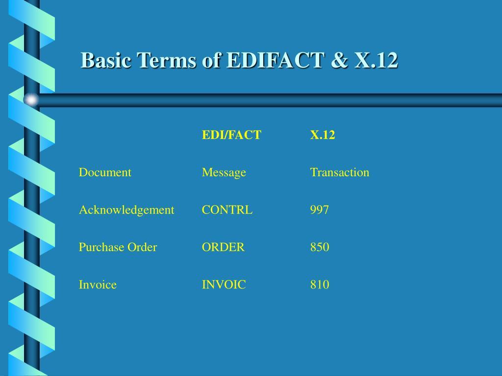 Basic Terms of EDIFACT & X.12