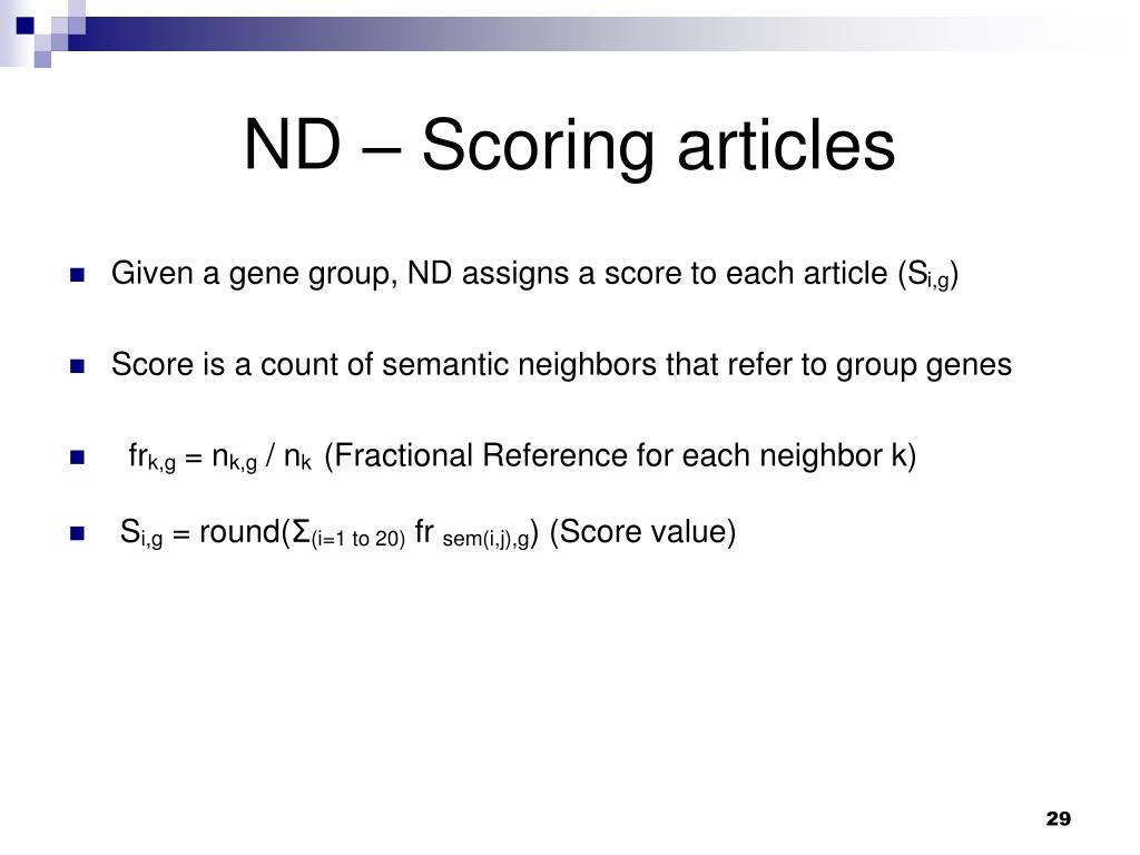 ND – Scoring articles