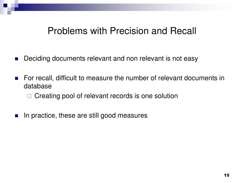 Problems with Precision and Recall