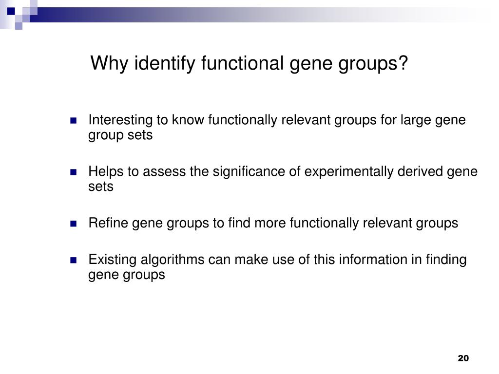 Why identify functional gene groups?