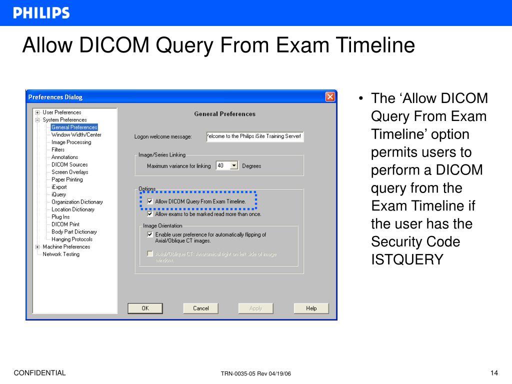 Allow DICOM Query From Exam Timeline