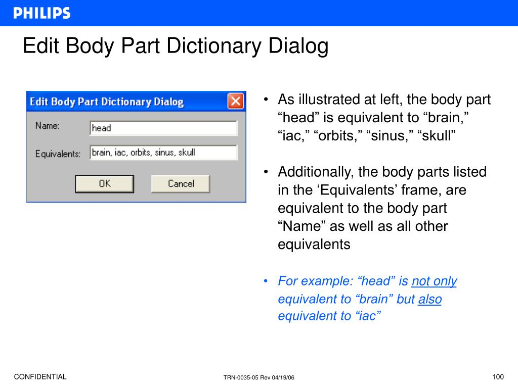 """As illustrated at left, the body part """"head"""" is equivalent to """"brain,"""" """"iac,"""" """"orbits,"""" """"sinus,"""" """"skull"""""""
