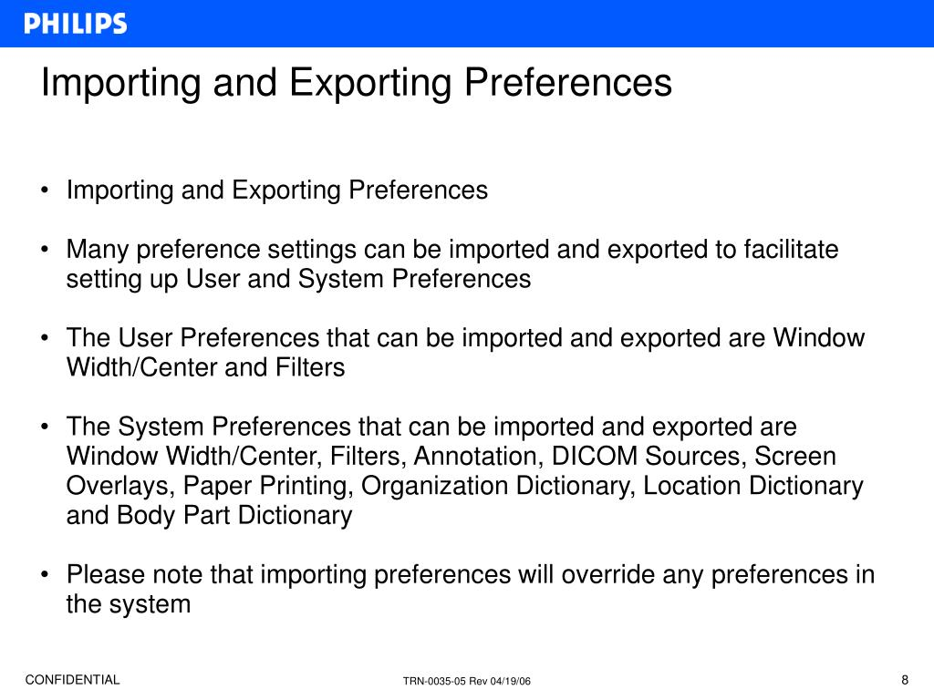 Importing and Exporting Preferences