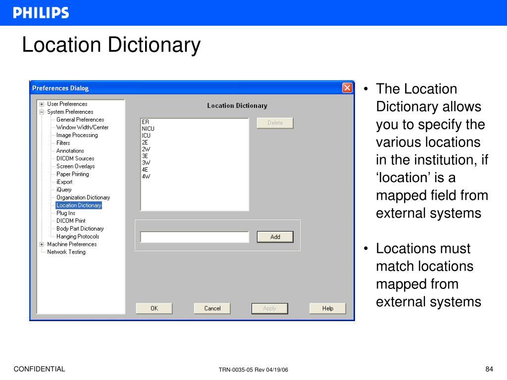 Location Dictionary