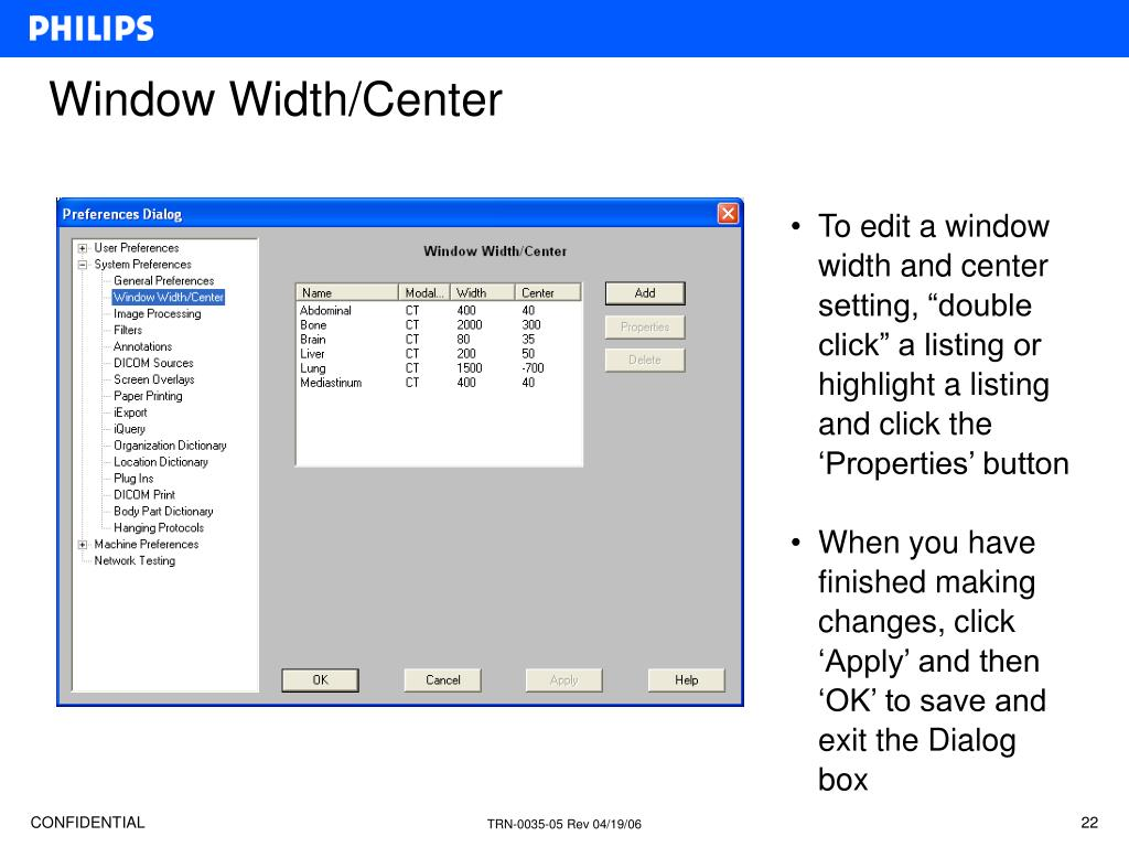 Window Width/Center