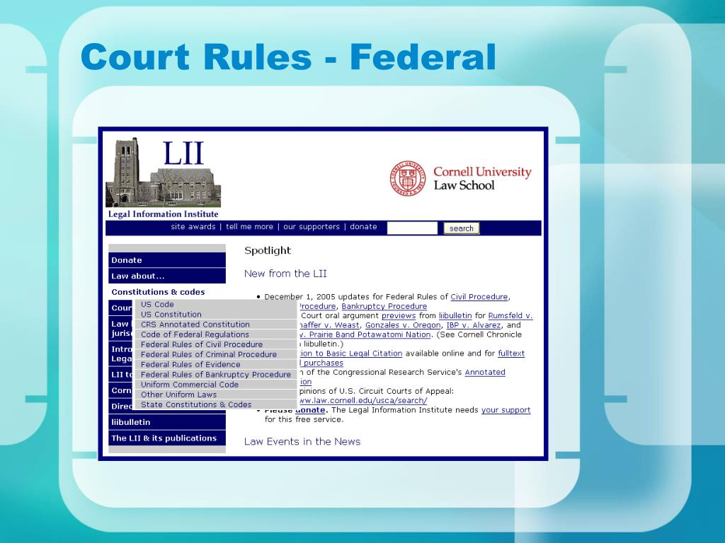 Court Rules - Federal