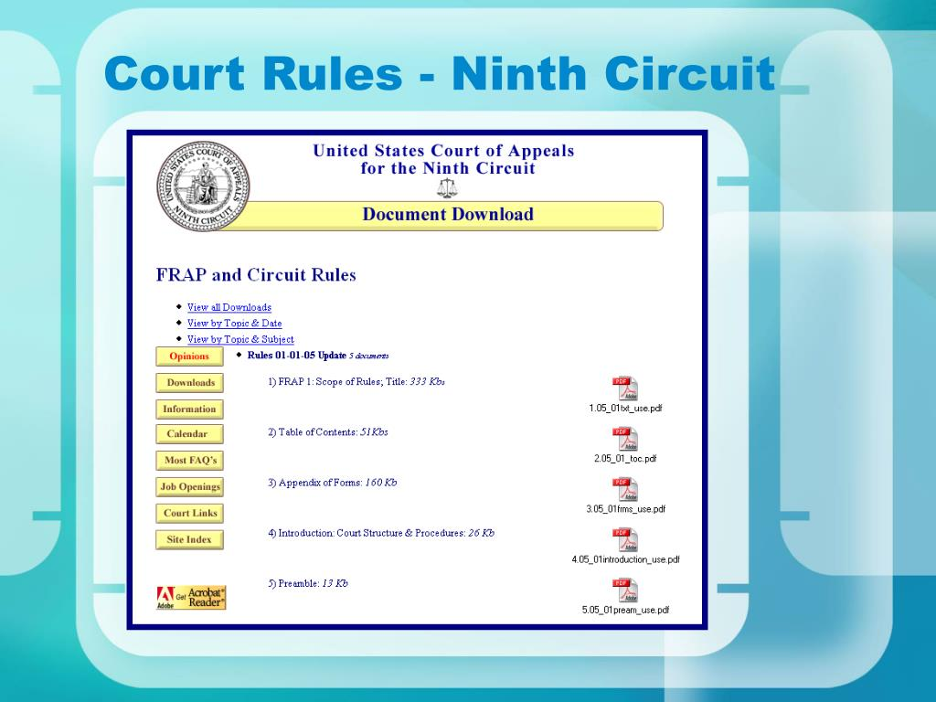 Court Rules - Ninth Circuit