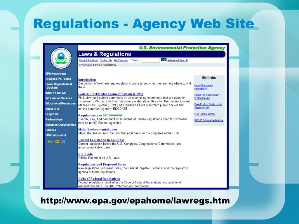 Regulations - Agency Web Site