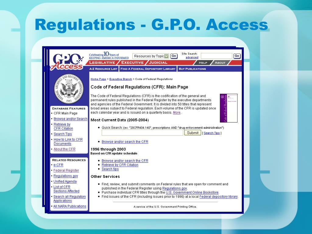 Regulations - G.P.O. Access