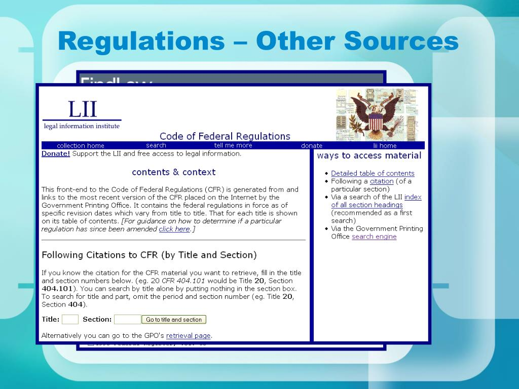 Regulations – Other Sources