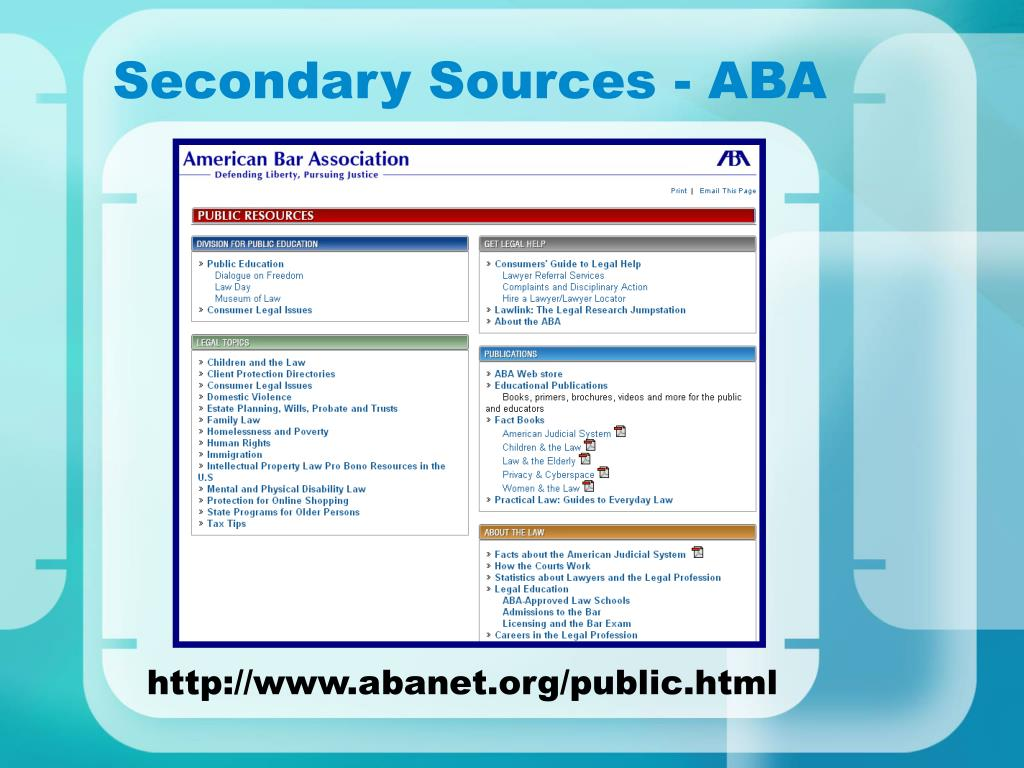 Secondary Sources - ABA