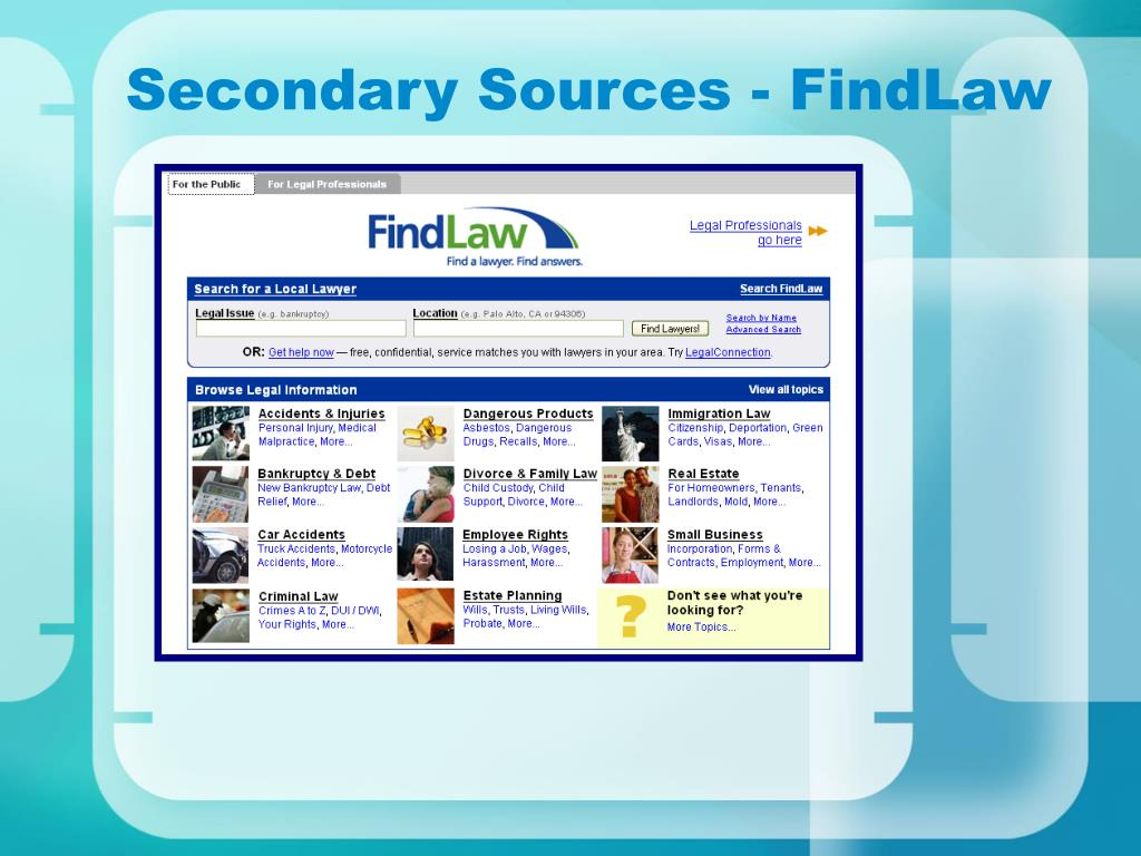 Secondary Sources - FindLaw