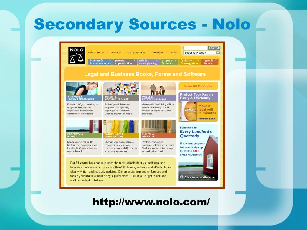 Secondary Sources - Nolo