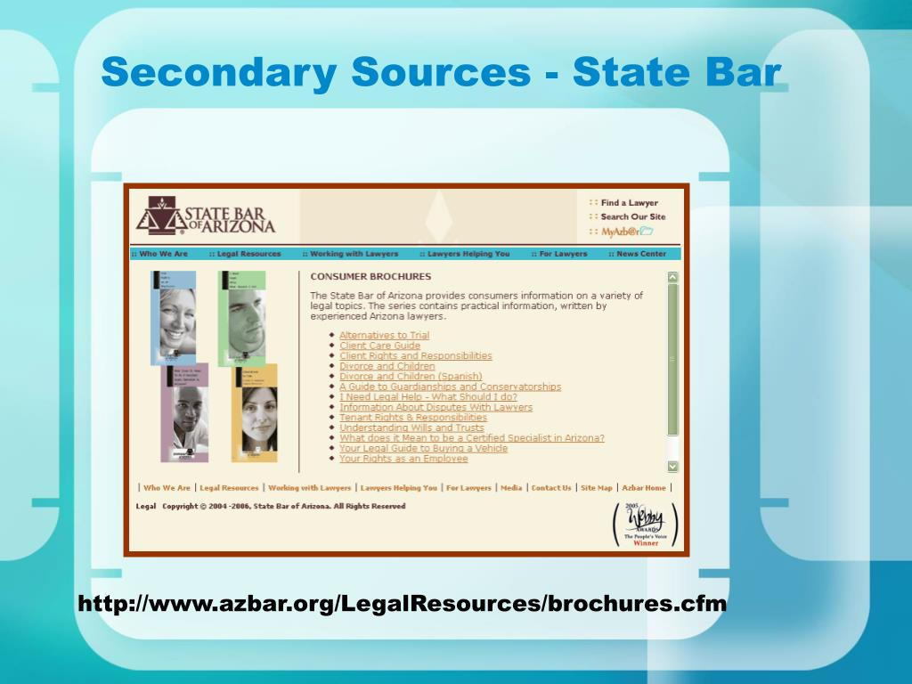 Secondary Sources - State Bar