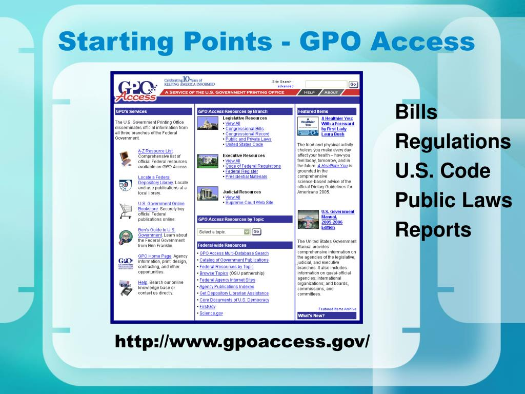 Starting Points - GPO Access